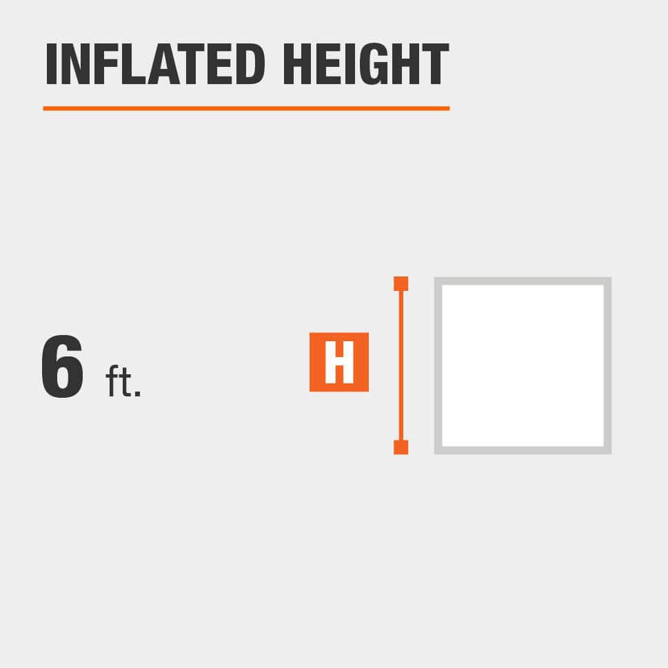 Inflated height is 6 feet