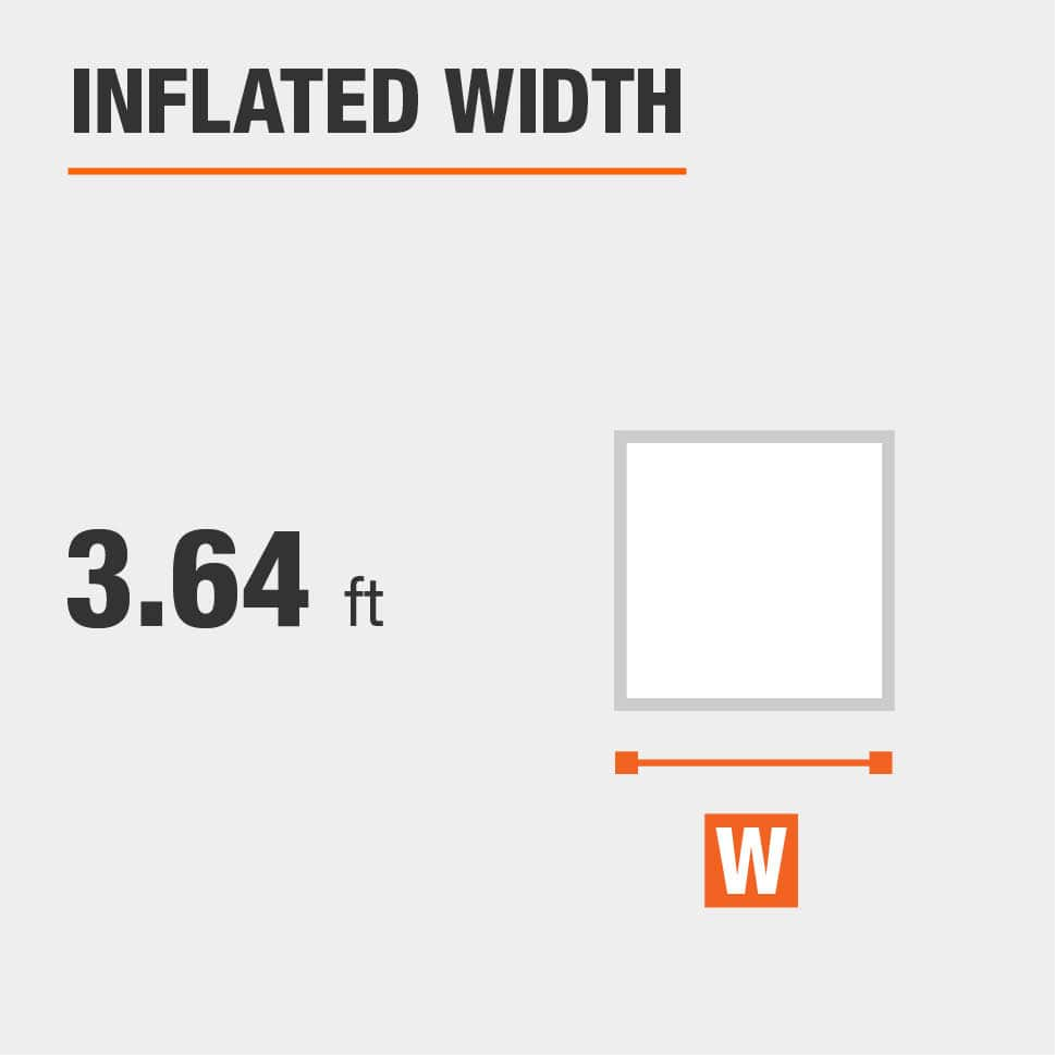 Inflated width is 3.64 feet
