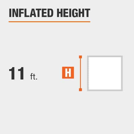 Inflated height is  11 feet