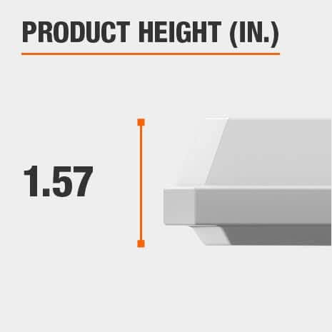 This light fixture has a height of 1.57 inches.