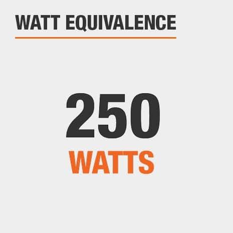 This light has a watt equivalence of 250 watts.
