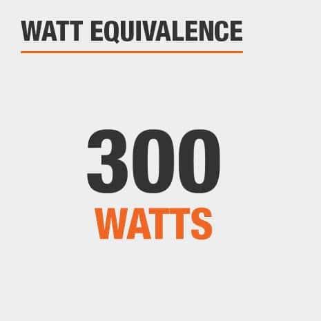 This light has a watt equivalence of 300 watts.