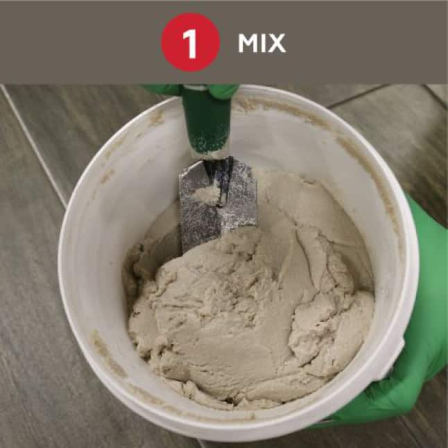 Installs in 3 easy steps.  Step 1: Mix together, do not add water.