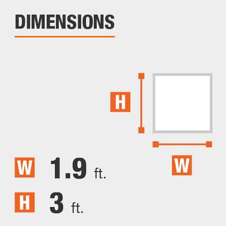 Height equals 3 feet Width equals 1.9 feet