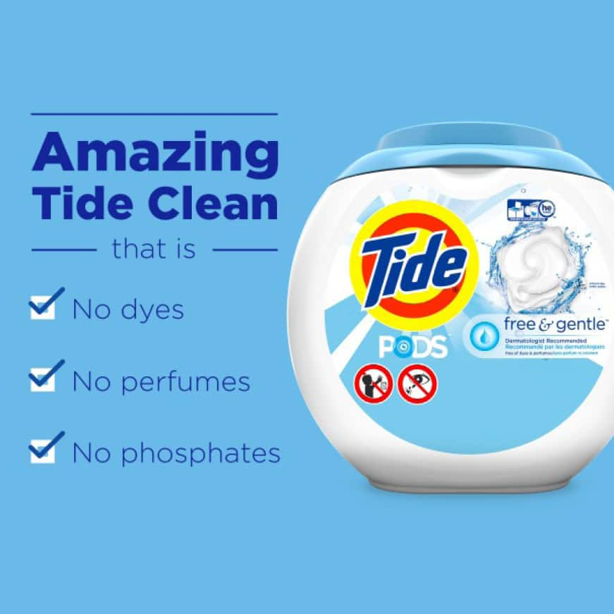 Tide Free and Gentle gives the amazing Tide clean without dyes, perfumes, or phosphates