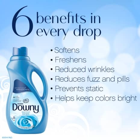 Softens, freshens, reduces wrinkles, reduces fuzz and pills,  prevents static and helps keep colors bright in every Downy drop.
