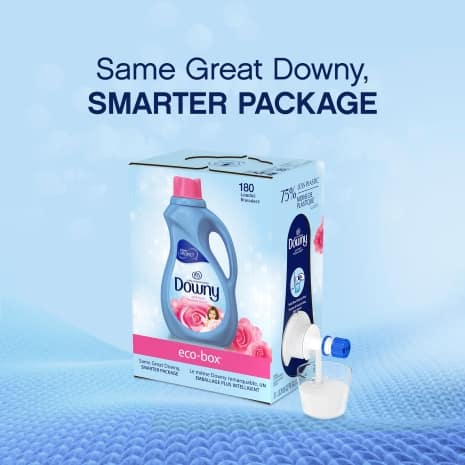 Downy Ultra is available in a sustainably designed Eco-Box made with 100% renewable wind electricity.