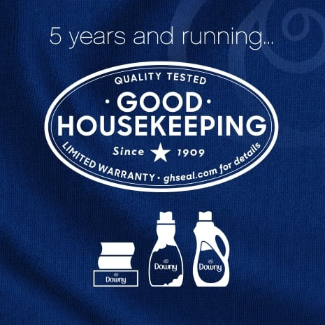 For 5 years and running, Downy liquid, sheets and scent beads have the Good Housekeeping seal.