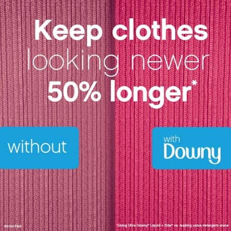 Downy helps reduce friction during the laundry process helping clothes keep their original shape and reducing color fading, pilling and fuzz.