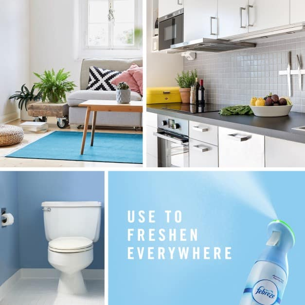 Odors are everywhere, lingering in the air. Clean away bad smells with Febreze Air freshener for an instant burst of fresh.