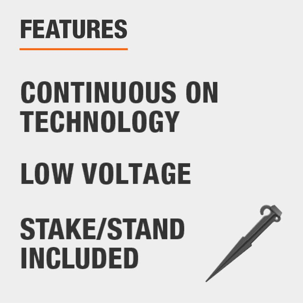 This item features continuous on technology, low voltage, and includes a stake