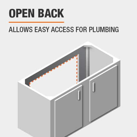 Back open to allow easy access for plumbing