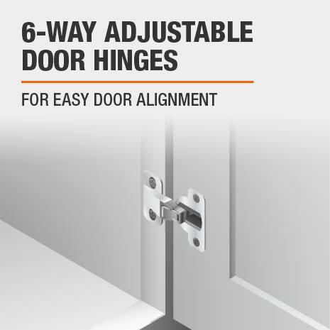 Bath vanity features 6-way adjustable door hinges for easy alignment