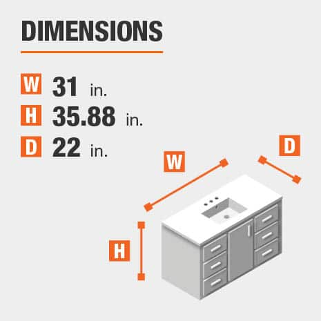 The dimensions of this bathroom vanity are 31.00 in. W x 35.88 in. H x 22.00 in. D