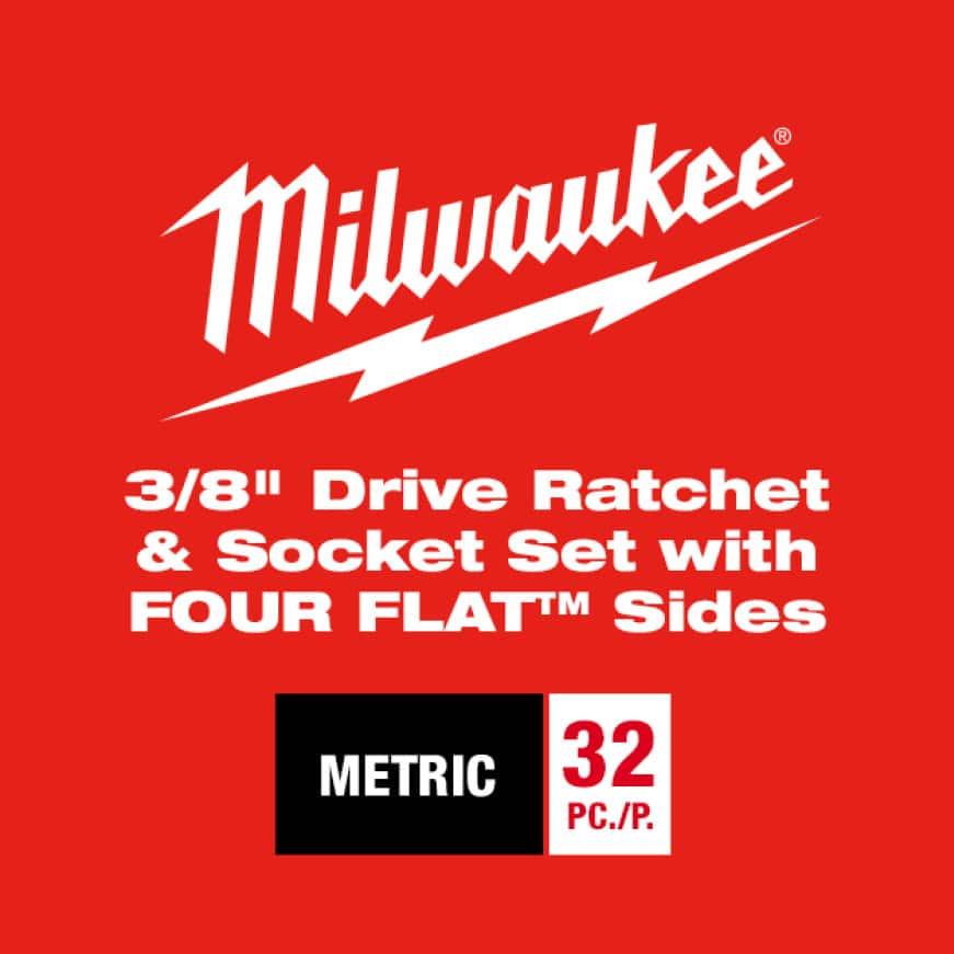 "Milwaukee 28 Pc SAE 3/8"" Drive Ratchet & Socket Set"