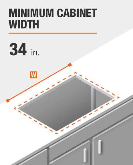 Minimum cabinet width is 34 in.