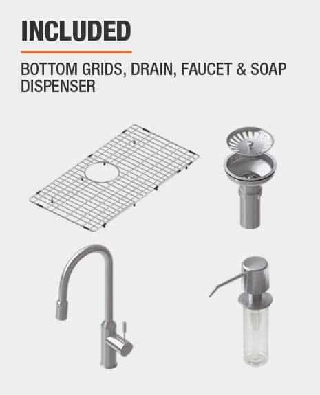 Sink includes Bottom Grids & Drain & Faucet & Soap Dispenser