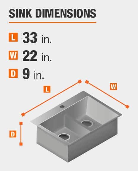 Sink dimensions are 33 in. W; 22 in. L; 9 in. D