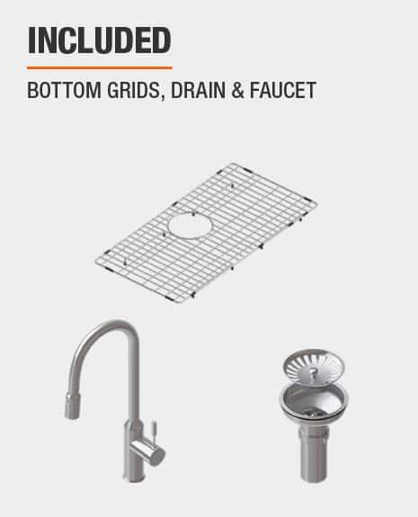 Sink includes Bottom Grids & Drain & Faucet