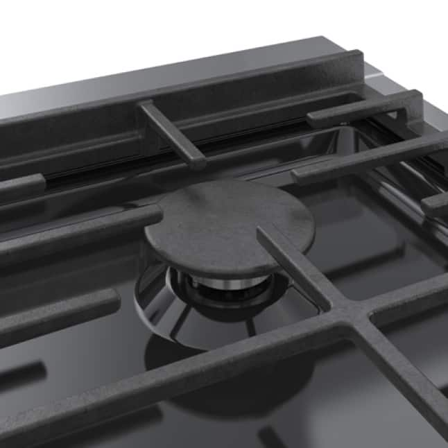 Close up view of Bosch OptiSim burner offering precise flame control at low settings