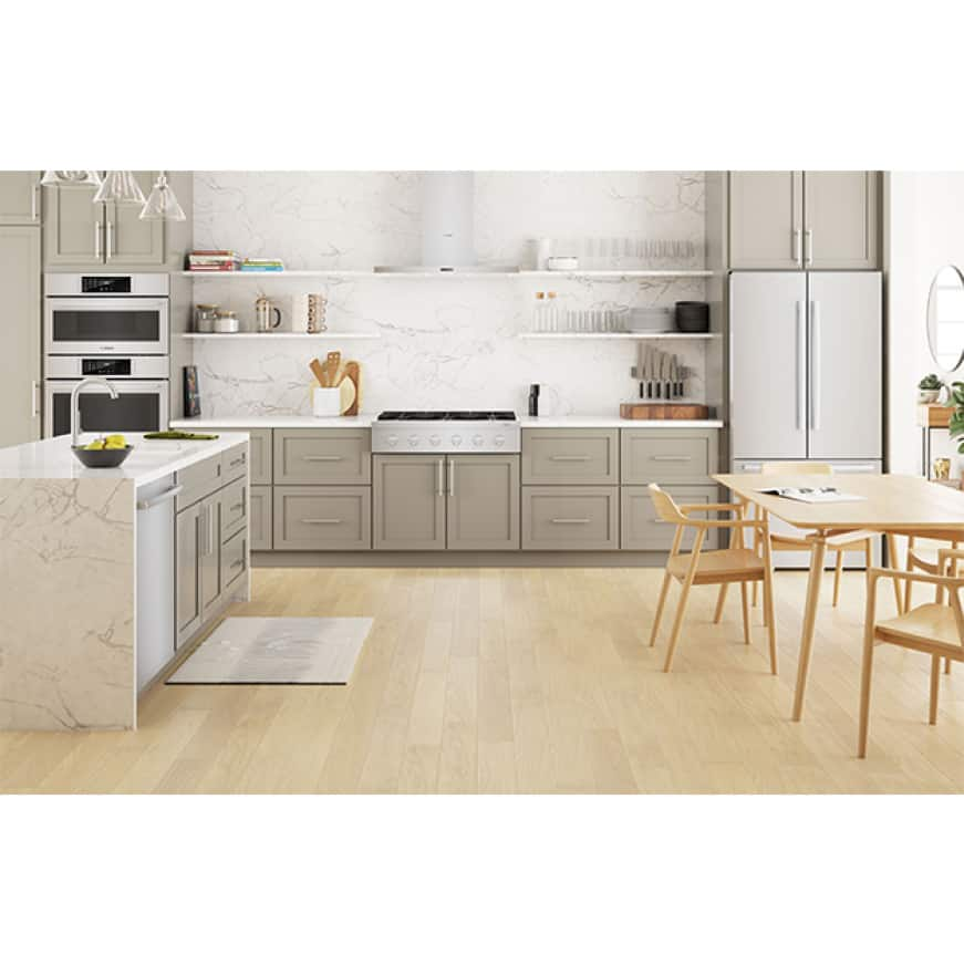 Bosch kitchen featuring 36-inch industrial-style gas rangetop model #RGM8658UC.