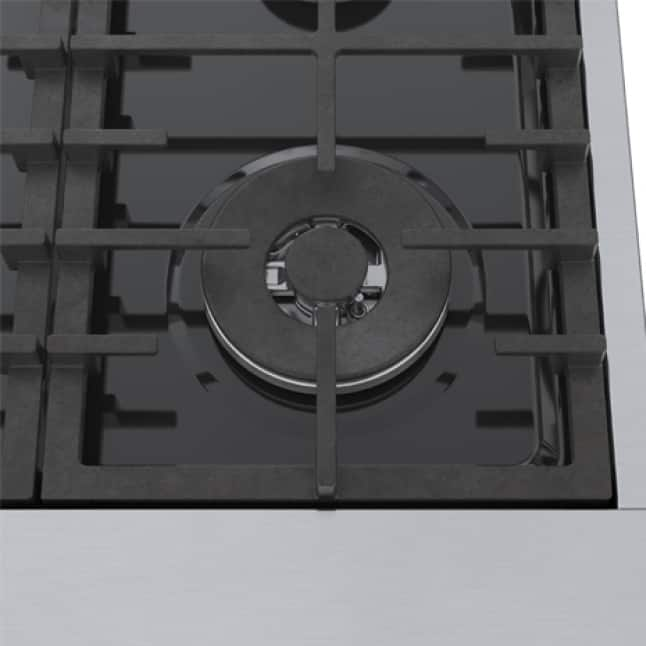 Close up view of Bosch cooktop dishwasher safe grates.