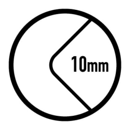 10 mm round corners easy to clean