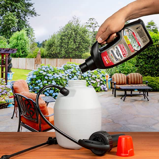 person pouring weed and grass killer concentrate into pump sprayer