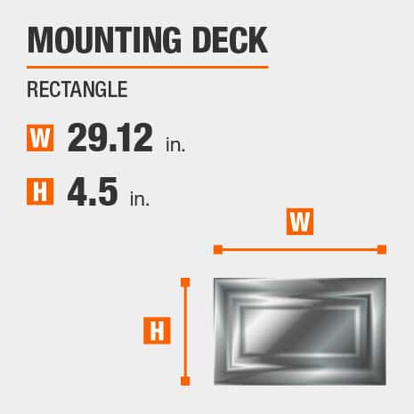 Wall Light with a Rectangle Mounting Deck that has a width of 29.12in.and a height of 4.5in.