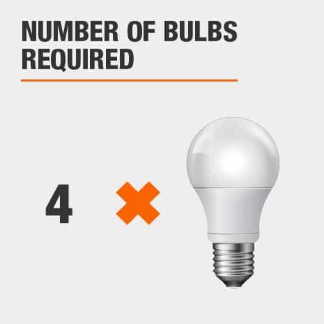 Bath light fixture that requires 4 light bulbs