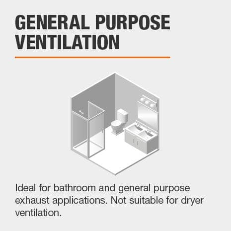Ideal for bathroom and general purpose exhaust applications. Not suitable for dryer ventilation