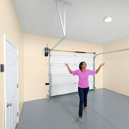 The Genie Wall Mount Garage Door Opener overhead storage