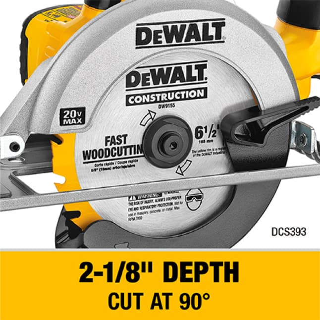 DCS393 Cordless Circular Saw with 6-1/2 in. carbide blade can cut 2x4s at a 45 degree angle in a single pass