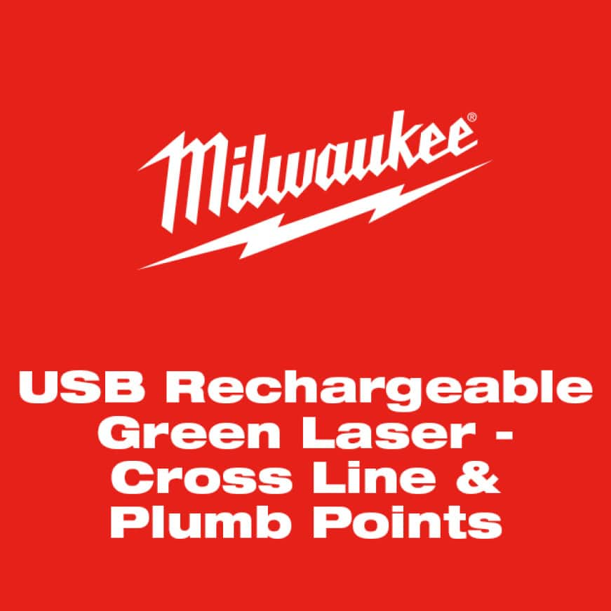 The Milwaukee USB Rechargeable Green Cross Line & Plumb Points Laser has a removable USB battery.