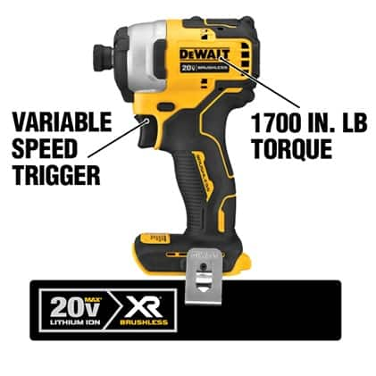 The DCF809B Compact Brushless Impact Driver delivers 1700 in. lbs. of torque and has three LED Lights. The handle features an ergonomic design.