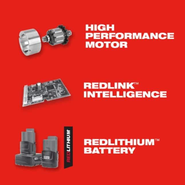 M12 System tools offer high performance motors, REDLINK intelligence, and REDLITHIUM batteries.