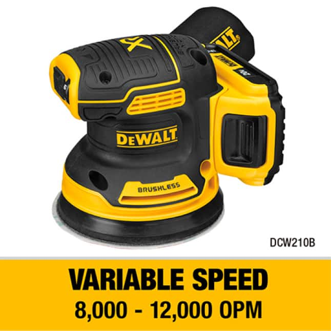 DCW210 Variable Speed control from 8000 to 12000 OPM to match speed to the application.