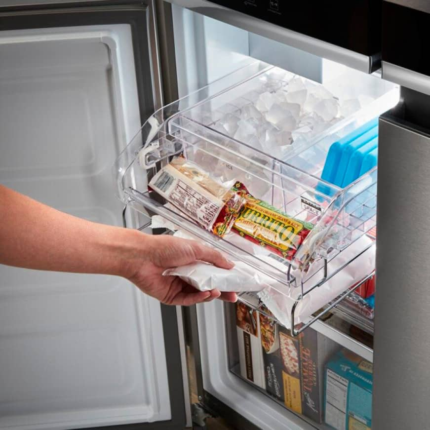 Keep plenty of ice on hand with the facgtory-installed icemaker.
