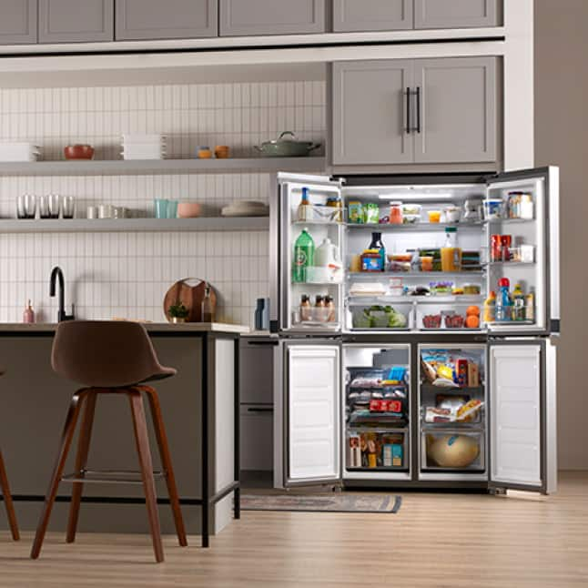 Four sleek compartments inspire grocery organization.