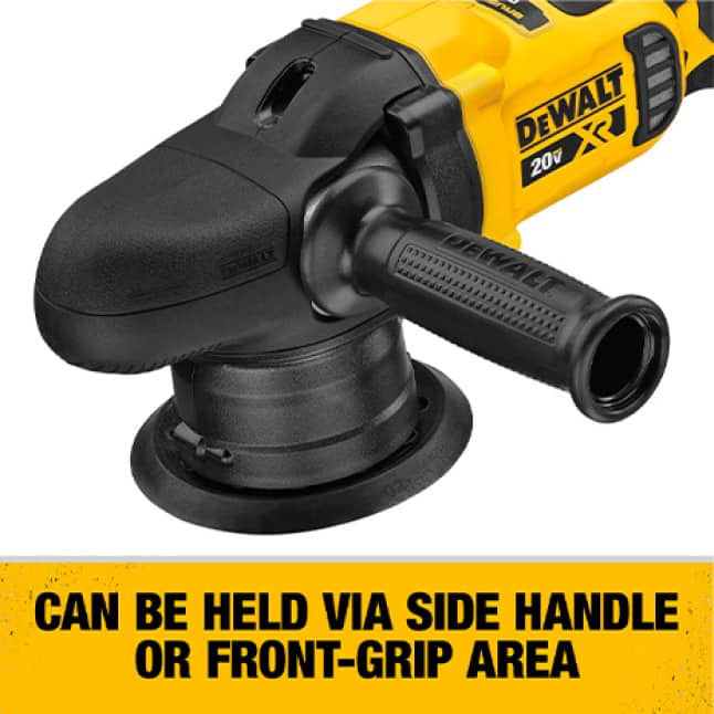 Can be held via the front grip or side handle.