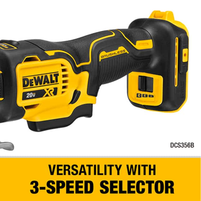 DCS356 Complete a wide variety of applications with the brushless 3-speed oscillating multi-tool.