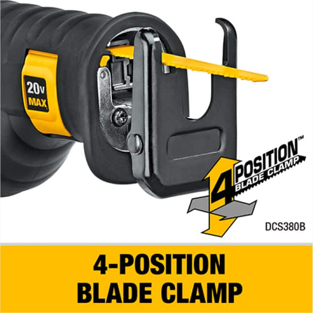 DCS380 Reciprocating Saw has a 4-postion blade clamp for a variety of applications