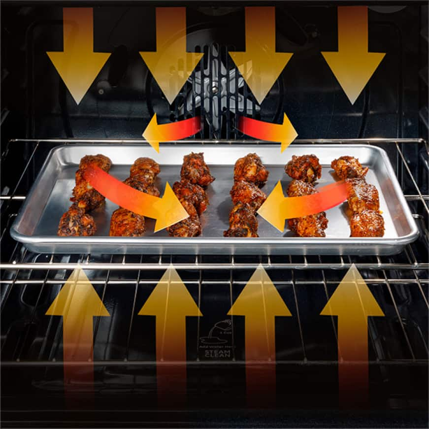 In-oven image of chicken wings cooking with airflow arrow graphics