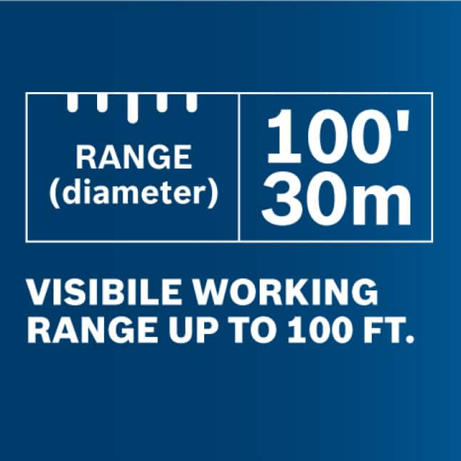 Bright visible working range up to 100 ft. (30 m.) with +/-1/8 in. accuracy at 30 ft.