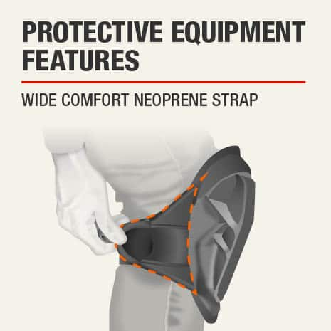 The protective feature of this knee pad is that it has a Wide comfort neoprene strap