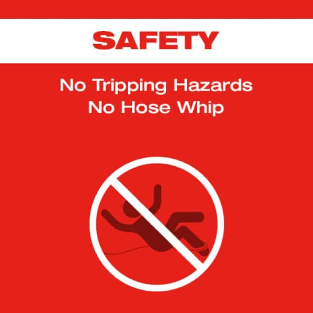Slip and fall sign with strikethrough on a red background to show elimination of hazards.