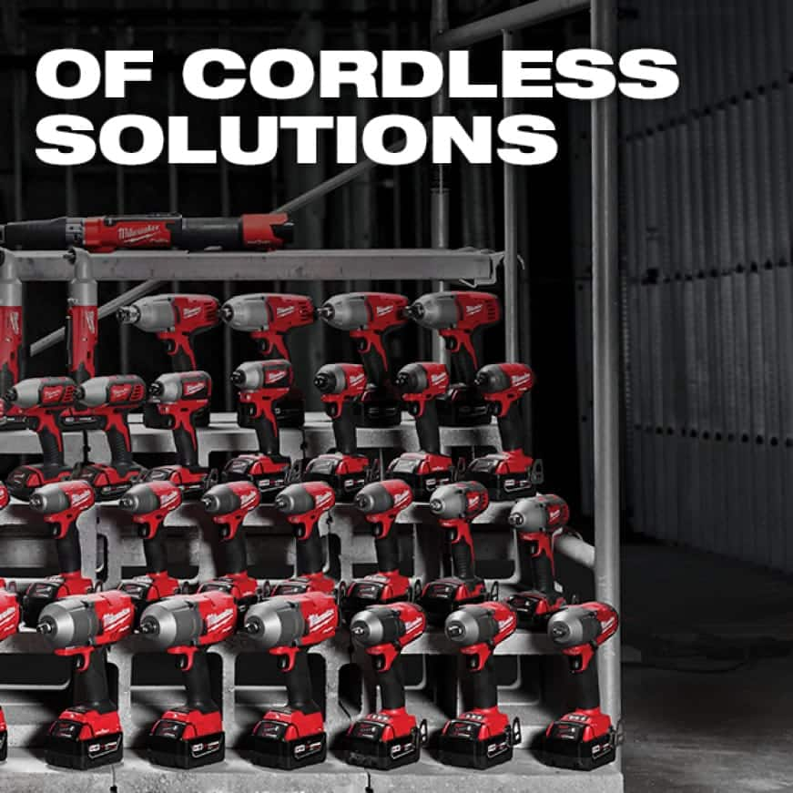 Milwaukee's fastening solutions lined up in order from light to heavy fastening capabilities