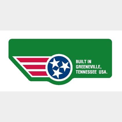 Logo that shows tractor was build in Greeneville, TN, USA.