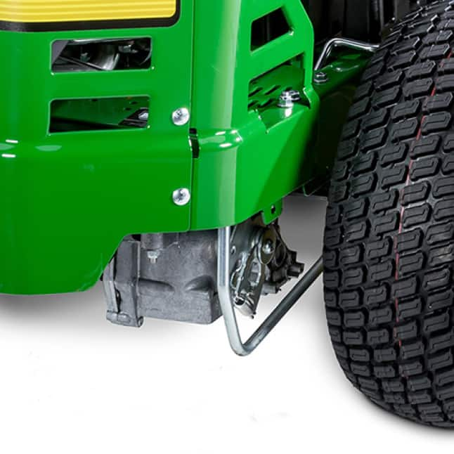 Image shows the rear of the mower where transmissions are located