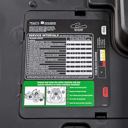 Image shows the service interval decal of the Z345R mower